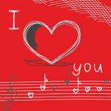 Doodle la tarjeta del día de San Valentín del corazón \ 'la tarjeta del fondo del día de s Fotografía de archivo libre de regalías