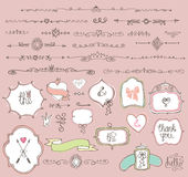 Doodle  labels, badges,frame,border,decor element Stock Images
