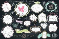 Doodle labels, badges,frame,decor element.Love set Stock Photo