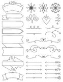 Doodle Labels, Flourishes & Arrows. A collection of doodle design elements with labels, flourishes and arrows Royalty Free Stock Photography