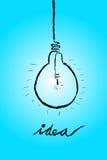 Doodle Lamp - Idea at light blue Stock Photos