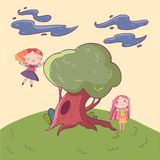 Doodle landscape with big old oak-tree. Fairies characters having fun outdoors. Red-haired girl in flying action. Doodle landscape with big old oak-tree. Cartoon Stock Photos