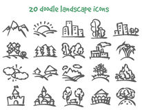 Doodle landscape icons Royalty Free Stock Photos