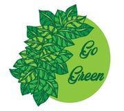 Doodle leaf background. Hand drawing illustration Go Green. Doodle leaf background. Hand drawing illustration nature with text Go Green Vector Illustration