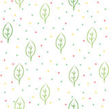 Doodle leaves pattern. Simple seamless pattern with polka dots and sketched leaves royalty free illustration