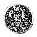 Doodle of let`s rock this day with love Royalty Free Stock Photos