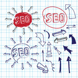 Doodle letteing SEO with arrows.Sketchy notepaper Royalty Free Stock Photography