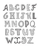 Doodle letters collection. Hand drawn artistic letters set. Handdrawn doodle alphabet. Unique zentagle letters collection Stock Photography