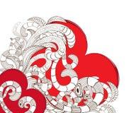 Doodle line art heart design Royalty Free Stock Images
