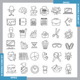 Doodle line art icons. Icons for office and business topics in the style of black whitedoodles. Hand drawn. Vector illustration. line art Stock Photography