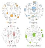Doodle line banners of Healthy lifestyle, Blogging, Team work and Weight loss. Concept Vector background for promotional material Royalty Free Stock Images