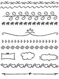 Doodle line border set. Black hand-draw line border set on white vector illustration