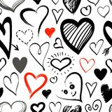 Doodle line heart icons seamless pattern. On white background for your Valentines day design. Vector hand drawn sketch illustration Stock Photography