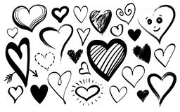Doodle line icon hearts isolated on white background set. Doodle line heart icons isolated on white background set for your Valentines day design. Vector hand Royalty Free Stock Photo