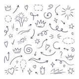 Doodle line swash. Emphasis text highlighters, hand drawn brush stroke, calligraphy underline. Vector hand drawn. Set royalty free illustration