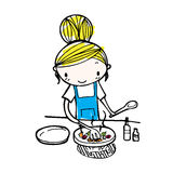 Doodle line vector of cute cartoon girl cooking in kitchen Stock Photos