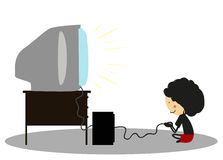 Doodle Little boy playing video games - Full Color Stock Photo