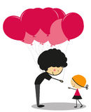 Doodle Little Girl and Balloons - Full Color Royalty Free Stock Image
