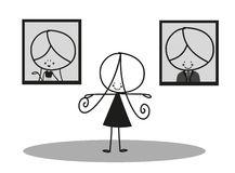 Doodle Little girl and her parent picture Royalty Free Stock Images