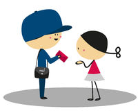 Doodle little girl received a letter from the postman - Full Color Royalty Free Stock Photo