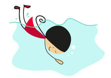 Doodle little girl swimming in pool - Full Color Stock Image