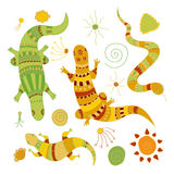 Doodle lizards, snake and decorative elements for design Royalty Free Stock Images