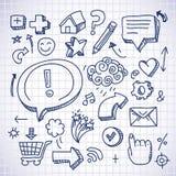 Doodle los iconos del Internet Foto de archivo libre de regalías