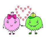 Doodle love card with monsters Stock Photography