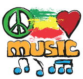 Doodle love, music, peace background Stock Photography