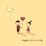 Doodle lovers: a boy and a girl with a balloon heart. Text Happy Valentine's Day. Royalty Free Stock Image