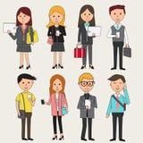Doodle ludzie biznesu z smartphone infographics elementami bezprawny ilustracji