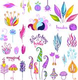 Doodle magical plants and herbs Stock Images