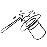 Doodle magician's top hat, icon Royalty Free Stock Images