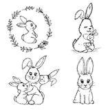 Doodle mali króliki royalty ilustracja