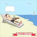 Doodle man dreams at the beach vector Royalty Free Stock Photo
