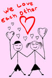Doodle Man and Woman in Love Royalty Free Stock Images