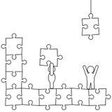 Doodle manikins robią łamigłówce Fotografia Royalty Free