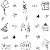 Doodle many element birthday Stock Photos
