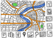 Doodle map. Illustration of an abstract city doodle map with icons Stock Photography