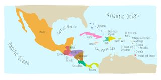 Doodle Map of Central America and Mexico. Hand drawn vector map of Central America and Mexico. Colorful cartoon style cartography of central America including vector illustration
