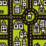 Doodle map of cute town. Royalty Free Stock Image