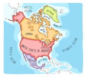 Doodle Map of North America. Hand drawn vector map of North America. Colorful cartoon style cartography of North America including Mexico, United States and Stock Photography