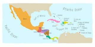 Doodle mapa Ameryka Środkowa i Meksyk ilustracja wektor