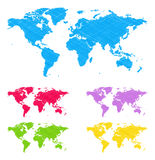 Doodle maps. The collection of the multicolored doodle earth maps stock illustration