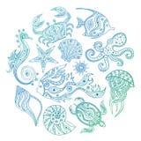 Doodle marine life. Vector. Hand-drawn elements. vector illustration