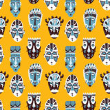 Doodle masks pattern african collection. Stock Photos