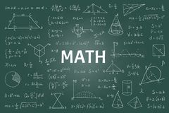 Free Doodle Math Blackboard. Mathematical Theory Formulas And Equations, Hand Drawn School Education Graphs. Vector Geometry Stock Image - 154429121