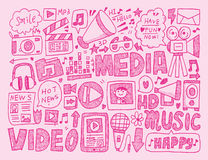 Doodle media background Stock Photography