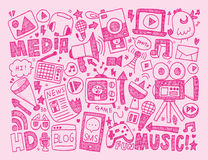Doodle media background Stock Images