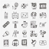 Doodle media background Stock Photo
